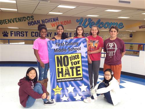 Coalition students with No Place for Hate Banner