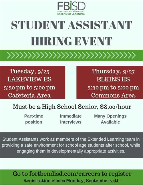Student Assistant Hiring Event
