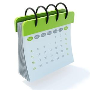 Picture of green and white calendar