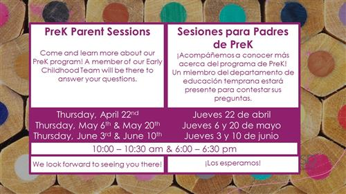 Parent Sessions Dates and Times