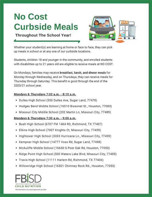 No Cost Curbside Meals - English