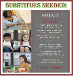 FBISD Substitutes Needed! (Please Click Here)