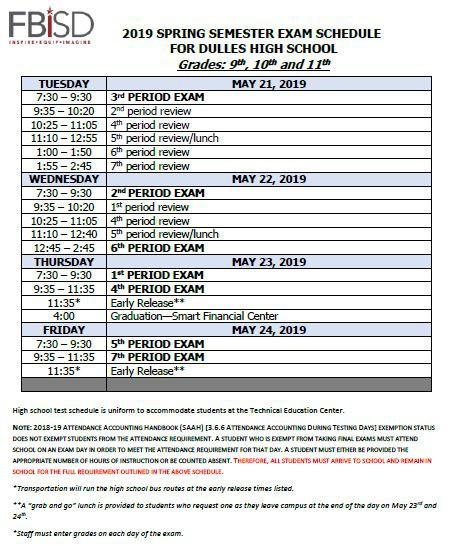 Fbisd 2019 Calendar Final Exam Schedule / Exam Schedule