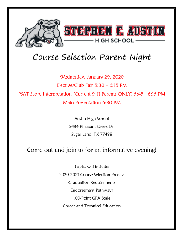Course Selection Parent Night Flyer (accessible details in link below)
