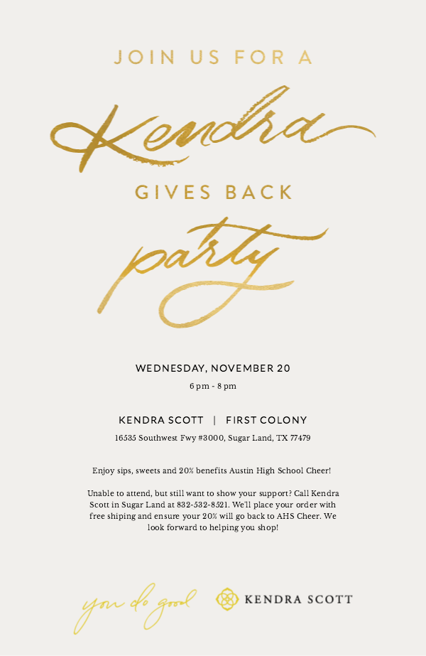 Flyer: Kendra Gives Back Party