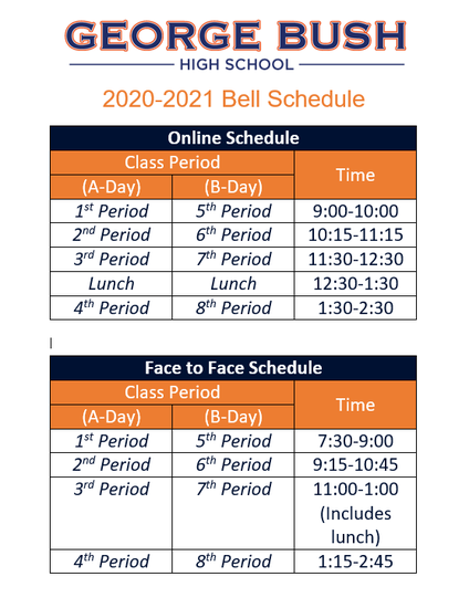 Fbisd Calendar 2022.Bell Schedule For F2f And Online Students