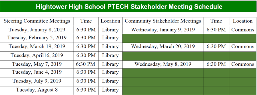 Hightower High School PTECH Stakeholder Meeting Schedule