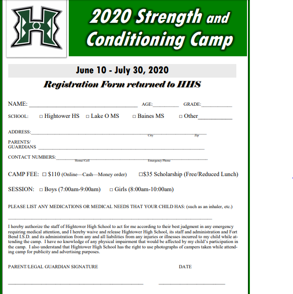 2020  Strength and Conditioning Camp