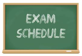 Image of Chalkboard with words exam schedule