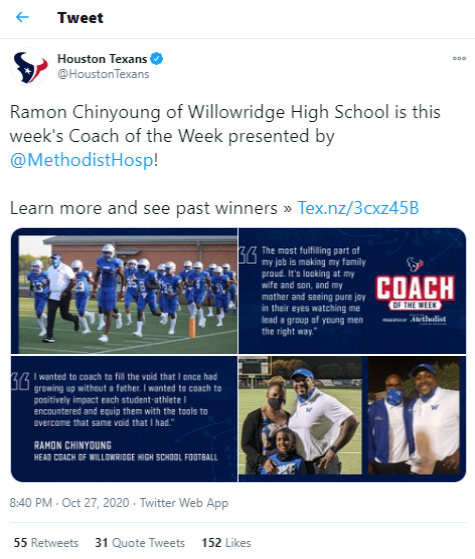 Willowridge HS Coach Chinyoung named Coach of the Week