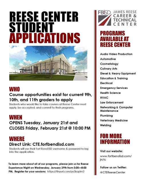 James Reese Career & Technical Center Applications