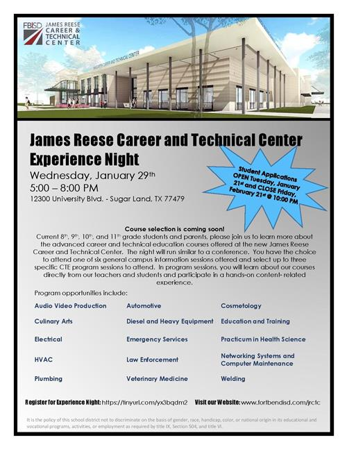 James Reese Career & Technical Center Experience Night
