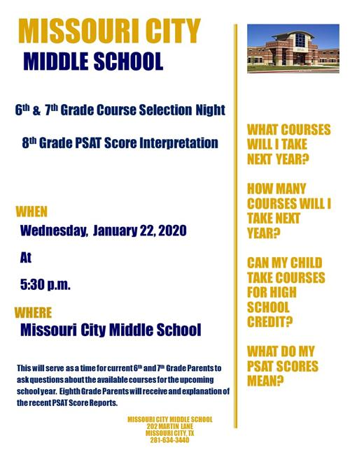 MCMS Course Selection Night for 6th and 7th Grade