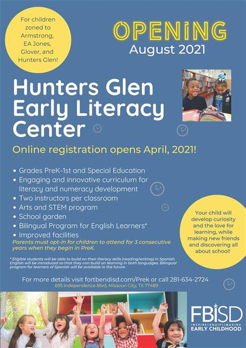 Hunter's Glen Early Literacy Center Flyer