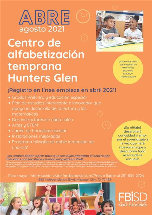 Hunter's Glen Early Literacy Center Flyer Spanish