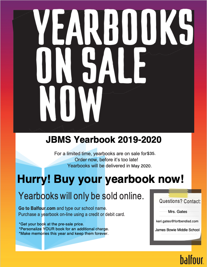 JBMS Yearbooks On Sale Now
