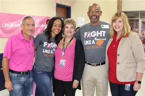 Baines Middle School Volleyball Team promotes Breast Cancer