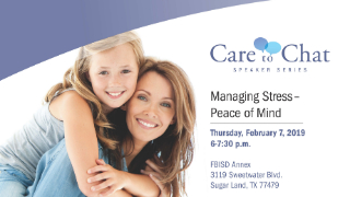FBISD parents invited to Care to Chat speaker series on managing stress, Feb. 7 (1/16/2019)