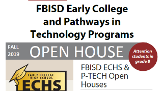 District to host open house events for Early College High School and P-TECH programs (10/21/2019)