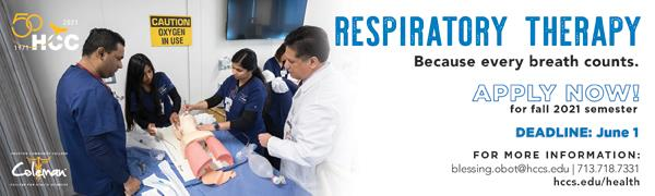 PAID AD: Apply now to study Respiratory Therapy at Houston Community College