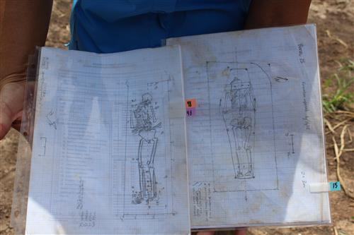 Sketches of the remains exhumed from the historic cemetery
