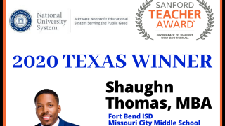 Shaughn Thomas, MCMS teacher, awarded teaching prize (6/19/2020)