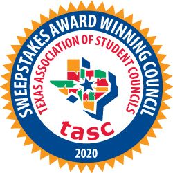 Sweepstakes Award Winning Council for 2020 from Texas Association of Student Councils