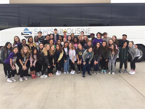 Thespian Troupe 7678 about to board the bus to Dallas for the Texas Thespian Convention, at the Kay B Hutchinson Con. Center