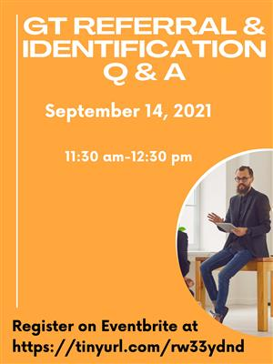GT Referral Q and A registration flyer