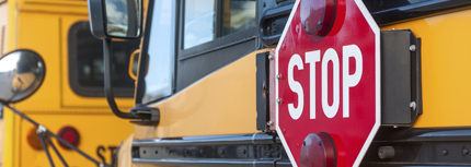 Image of school buses with stop sign displayed