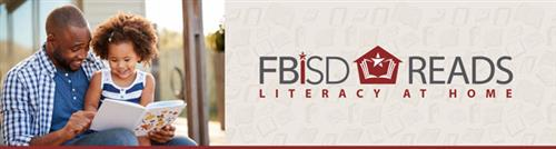 FBISD Reads Logo, Man and child reading a book