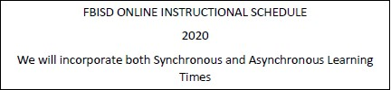 Online Instructional Schedule 2020