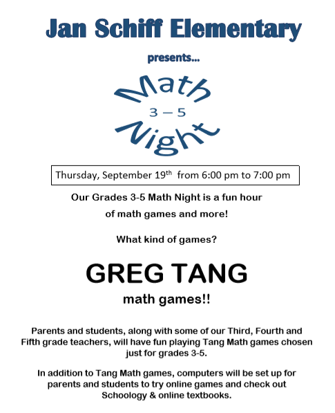 3-5 Family Math Game Night is this Thursday 9/18!